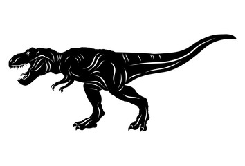Silhouette of Dinosaur t-rex isolated on white background. Vector illustration