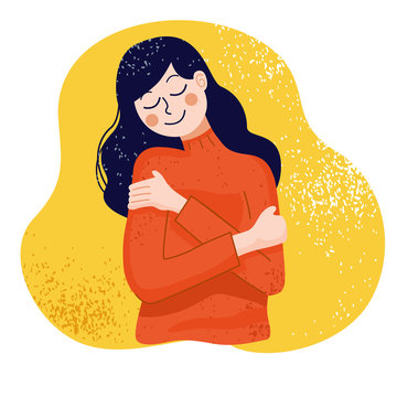Love yourself concept, Woman hugging herself, Vector Illustration