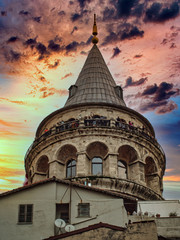 Wall Mural - Beautiful Galata Tower Point of View and Cityscape in Istanbul, Turkey at Sunset, under an amazing Sky