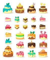Layered cakes and slices flat vector illustration set