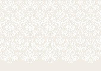 小さいハートを散りばめた、ダマスク織パターン背景