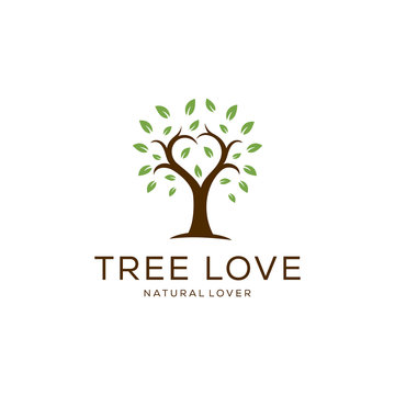 Illustration of abstract tree in the shape of a heart / love sign with lush leaves.