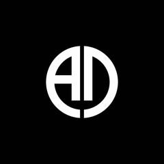AD monogram logo circle ribbon style design template