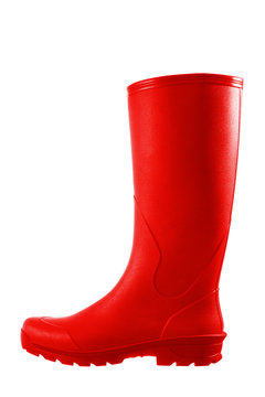 Red rubber boots isolated on white background