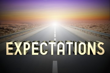 Expectations concept, road - 3D rendering