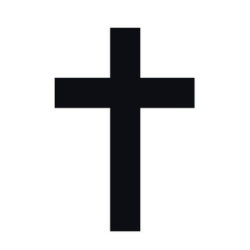 chirstian black cross symbol with white background.