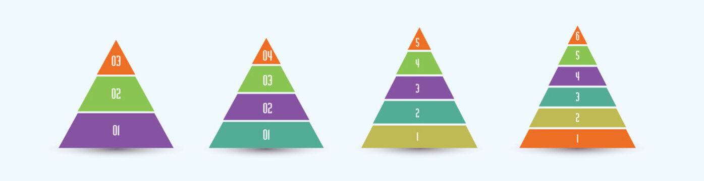 Colored pyramid info graphics with steps. Layered charts illustration. 3-6 steps marketing strategy sale pyramid.
