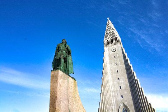 Reykjavik, Iceland - June 8, 2019 : Lutheran Church and Leif Erikson statue