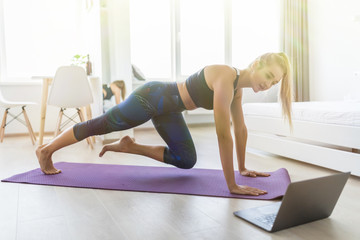 Attractive sportswoman with laptop doing push ups at home.