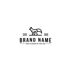 wolf design logo vector line art