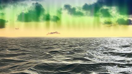 Foto auf Acrylglas Gelb Schwefelsäure Stormy weather on the ocean with Northern lights