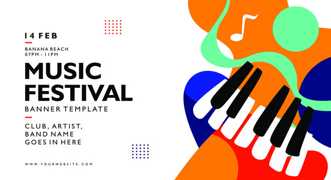 music festival banner background template with colorful trend colors. Poster for print material, advertisement, and element. Vector illustration.