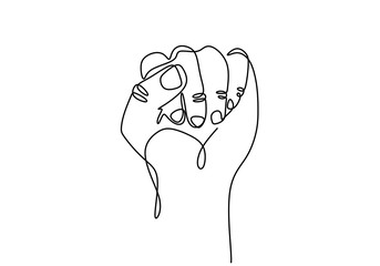 Continuous one line drawing of fist hand gesture. Arm sign and symbol of fight and freedom.