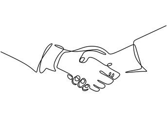 Continuous one line drawing of handshake minimalism