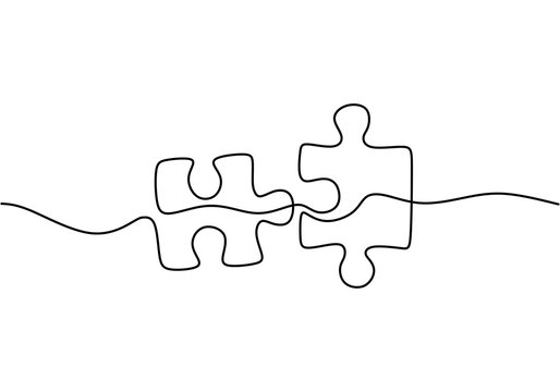 Continuous one line drawing of two pieces of jigsaw on white background. Puzzle game symbol and sign business metaphor of problem solving, solution, and strategy.