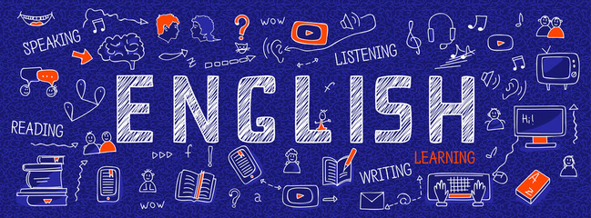 Internet banner about learning English language: white outline icons, symbols, signs on blue background. Line art illustration: learners, book, dictionary, speaking, reading, writing, listening skills