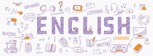 Header for websites about learning English language with outline icons, symbols, signs on white background. Illustration of book, dictionary, vocabulary, speaking, reading, writing, listening skills