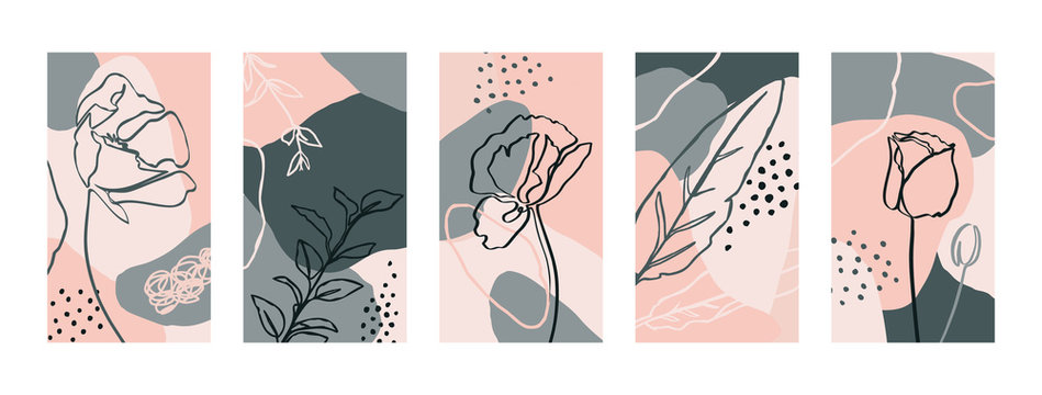 Set Backgrounds with poppy flowers and flora Elements. Abstract Mobile Wallpapers in minimal trendy style templates for social media stories. Vector Illustration in pastel color pink, green
