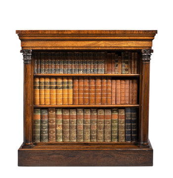 old vintage low small open bookcase English rosewood with books isolated on white