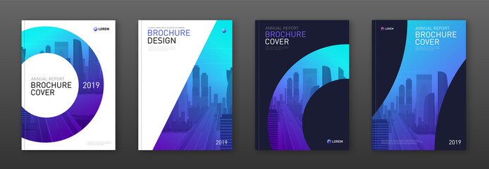 Brochure cover design layout set for business and construction. Abstract geometry whith colored cityscape vector illustration on background. Good for annual report, industrial catalog design.