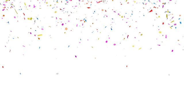 Multicolor confetti abstract background with a lot of falling pieces, isolated on a white background. Festive decorative tinsel element for design. 3d render