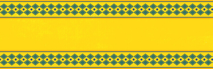 Yellow background pattern with rustic geometric indigenous frame