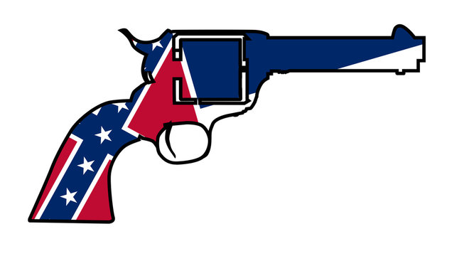Cowboy Six Gun Silhouette with Mississippi Flag