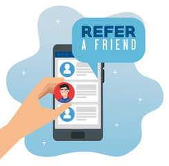 poster of refer a friend with hand using smartphone vector illustration design