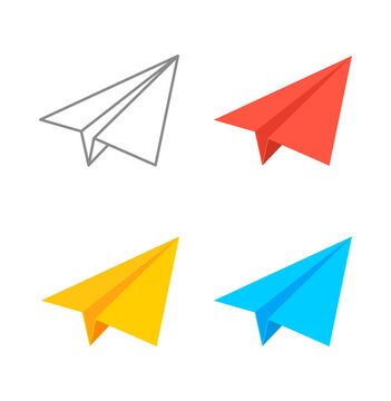 Paper plane isometric vector icon set. Origami paper airplane illustration