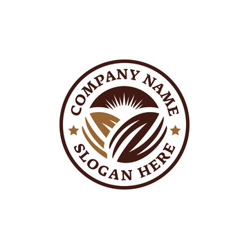 Emblem chocolate coffee bean logo. Branding for cafes, cofeeshop, restaurants, beverages, eatery, products, etc. Isolated logo vector inspiration. Graphic designs