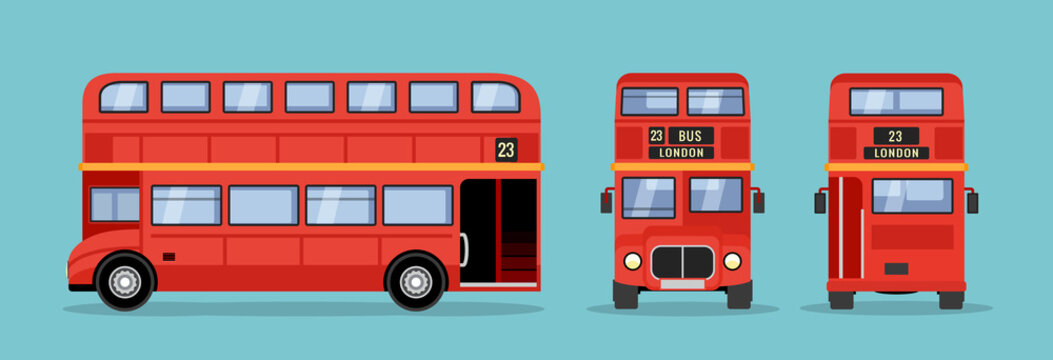 London double decker red bus cartoon illustration, English UK british tour front side isolated flat bus icon
