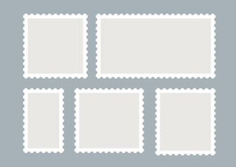 Blank postage stamps vector set isolated. Mark mail letter stamps design. Postal frame sticker Fototapete
