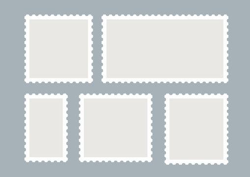 Blank postage stamps vector set isolated. Mark mail letter stamps design. Postal frame sticker