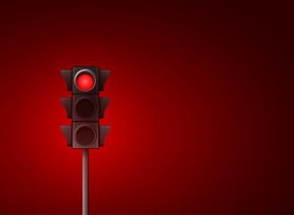 Red traffic light vector background. Signal stoplight road warning lamp Fotomurales