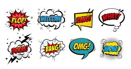 set of expressions and explosions pop art style icon vector illustration design Fotobehang