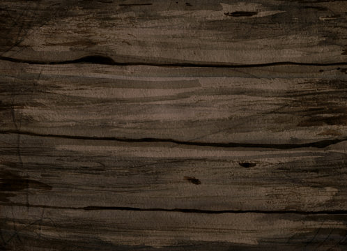 Watercolor dark wooden background with texture top view