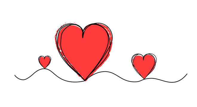 Tangled grunge heart round scribble hand drawn with thin line, vector illustration