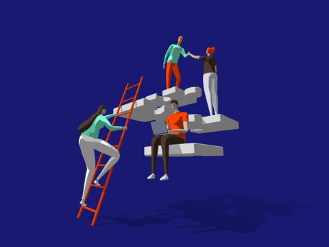 Teamwork business solution concept with persons and puzzle elements. Team Metaphor. Template for web banner, landing page. Flat vector illustration isolated on dark blue background.