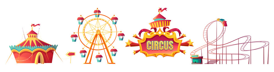 Amusement park, carnival or festive fair cartoon vector illustration. Rollercoaster, circus tent and ferris wheel, elements for children summer fun isolated on white background, announcement frame