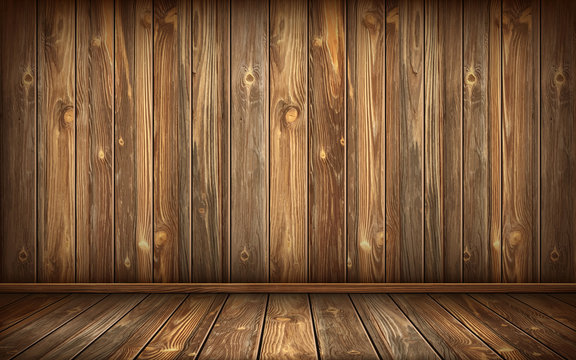 Wooden wall and floor with aged surface, realistic vector illustration. Vintage wall and floor made of darkened wood, realistic plank texture. Empty room interior background