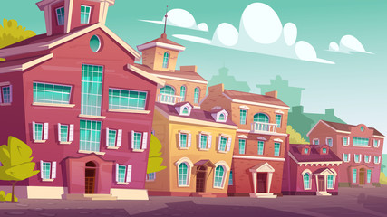 Urban street landscape with retro residential buildings, cartoon vector. Cityscape vintage background with old houses, residential town area during day isometric view, blue sky with clouds Fotomurales