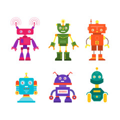 Vector set of modern robot character icons flat style