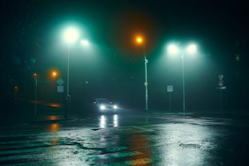 Poster de jardin Autoroute nuit fog in the night city after rain, car headlights