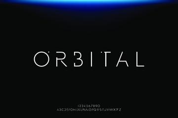 Orbital. Abstract technology futuristic alphabet font. digital space typography vector illustration design