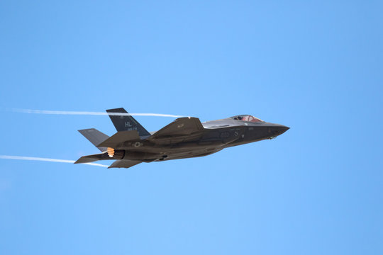 PARIS, FRANCE - JUN 23, 2017: US Air Force Lockheed Martin F-35 Lightning II flghter jet flying a demo on it's debut at the Paris Air Show 2017