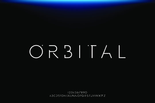 Orbital. Abstract technology futuristic alphabet font. digital space typography vector illustration design