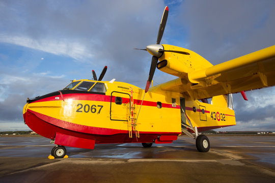 TORREJON, SPAIN - OCT 11, 2014: Bombardier CL415 Superscooper airplane. The aircraft is designed and built specifically for aerial firefighting.