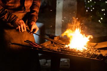 Fire of blacksmith in the blacksmith's workshop