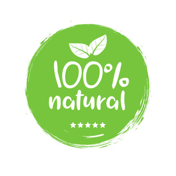 100 natural organic stamp food badge. Eco Nature green icon product label or logo typography