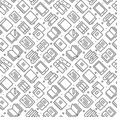 Books related seamless pattern with outline icons